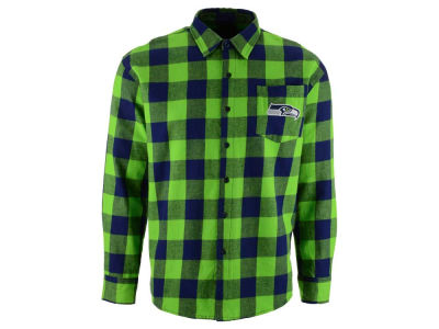 Seattle Seahawks NFL Men's Large Check Flannel Button Down Shirt