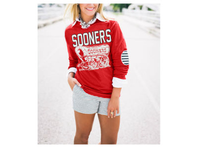 Oklahoma Sooners NCAA Women's Elbow Patch Long Sleeve T-Shirt