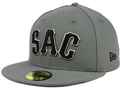 Sacramento River Cats New Era MiLB Gray Black White 59FIFTY Cap