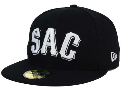 Sacramento River Cats New Era MiLB Black and White 59FIFTY Cap