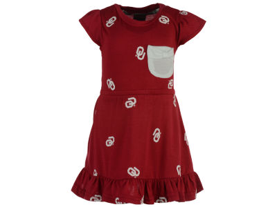 Oklahoma Sooners NCAA Newborn Girls Cap Sleeve Ruffle Dress Set