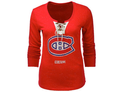 Montreal Canadiens NHL Women's Lace Up Henley Shirt