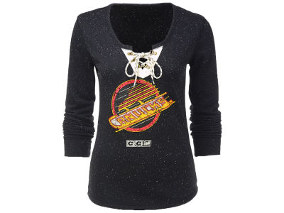 Vancouver Canucks NHL Women's Lace Up Henley Shirt