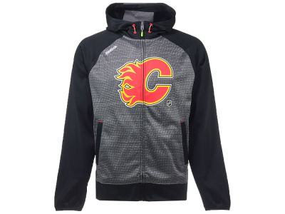 Calgary Flames Reebok NHL Men's Center Ice TNT Full Zip Hoodie