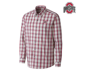 Ohio State Buckeyes Cutter & Buck NCAA Men's North Point Plaid Button Down Shirt