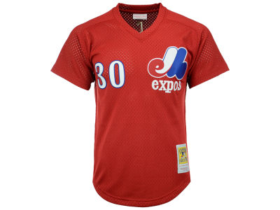 Montreal Expos Tim Raines Mitchell and Ness MLB Men's Authentic Mesh Batting Practice V-Neck Jersey