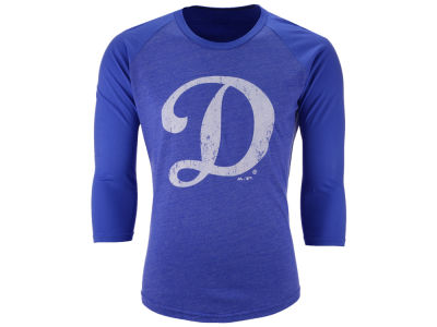 Los Angeles Dodgers Majestic MLB Men's Heather Logo Triblend Raglan Shirt
