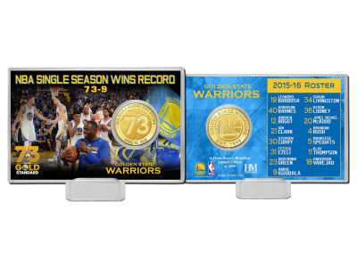 Golden State Warriors 4x6 73 Win Record Bronze Coin Card