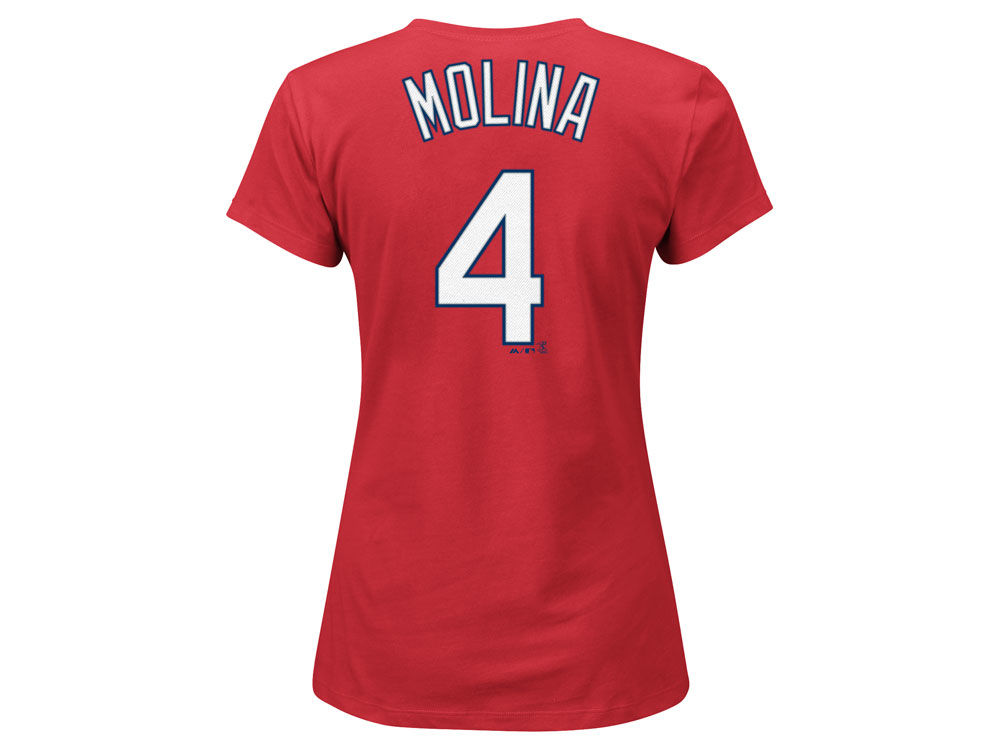 info for ca7eb 71db2 St. Louis Cardinals Yadier Molina Majestic MLB Women's Crew Player T-Shirt