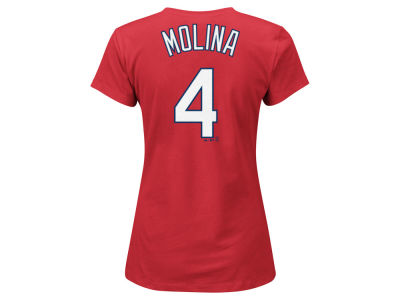 St. Louis Cardinals Yadier Molina Majestic MLB Women's Crew Player T-Shirt