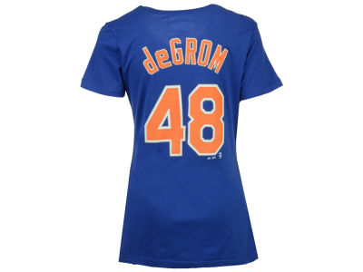 New York Mets Jacob DeGrom Majestic MLB Women's Crew Player T-Shirt