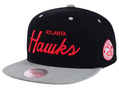 Atlanta Hawks Mitchell and Ness NBA Heather Special Script Snapback Cap