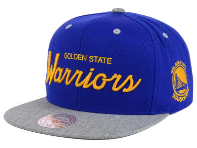 Golden State Warriors Mitchell & Ness NBA Heather Special Script Snapback Cap