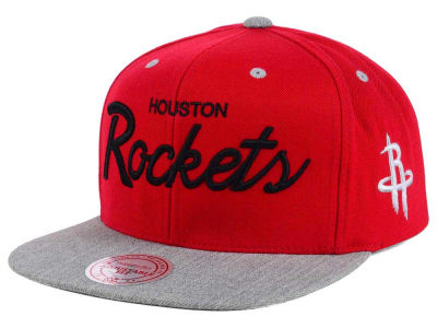 Houston Rockets Mitchell and Ness NBA Heather Special Script Snapback Cap