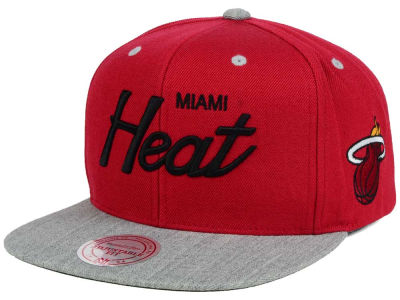 Miami Heat Mitchell and Ness NBA Heather Special Script Snapback Cap