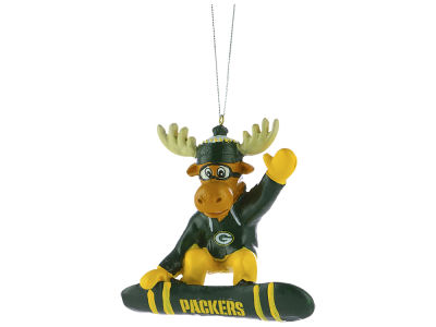 Green Bay Packers Snowbarding Moose Ornament