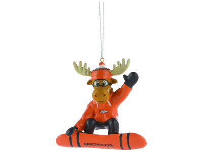 Denver Broncos Snowbarding Moose Ornament
