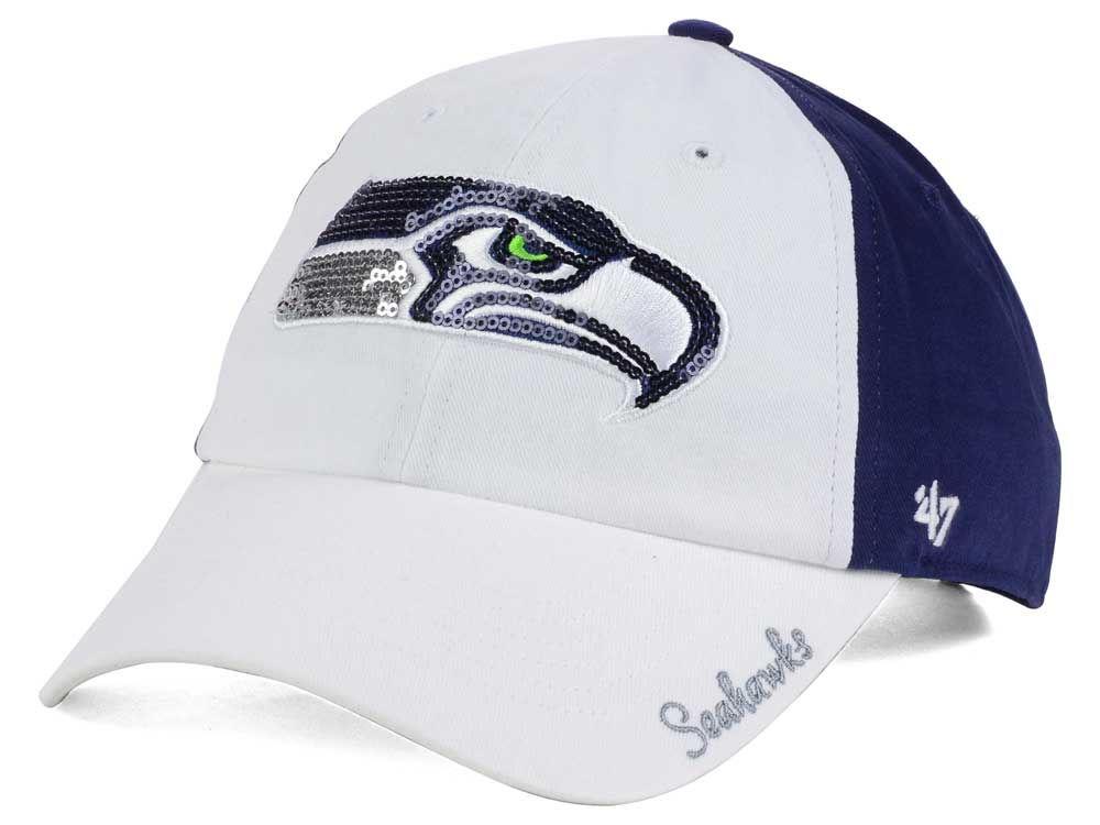 3de85598a Seattle Seahawks  47 NFL  47 Women s White Sparkle Cap
