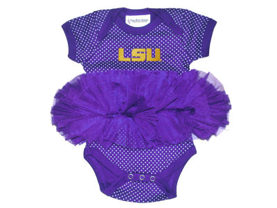 LSU Tigers Atlanta Hosiery NCAA Inafant Pin Dot Tutu Creeper