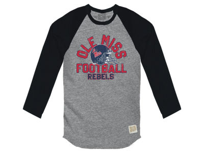 Ole Miss Rebels Retro Brand NCAA Men's Retro Lou Tri-Color Reglan Long Sleeve T-Shirt