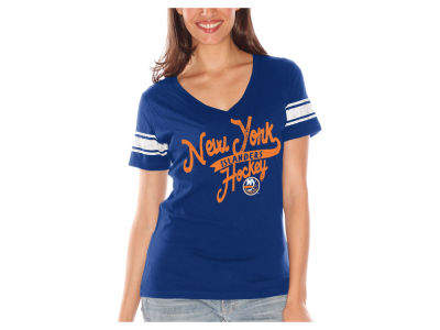 New York Islanders G-III Sports NHL Women's Sleeve Stripe Tailsweep T-Shirt