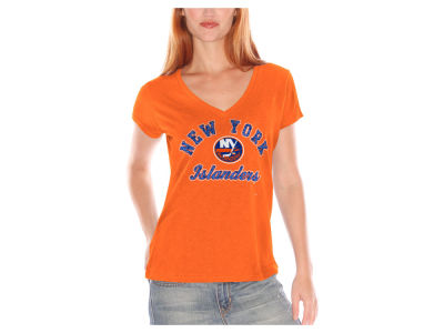 New York Islanders GIII NHL Women's Glitter Short Sleeve V-Neck T-Shirt