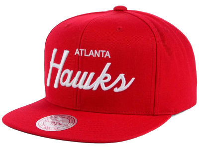 Atlanta Hawks Mitchell and Ness NBA White Script Snapback Cap