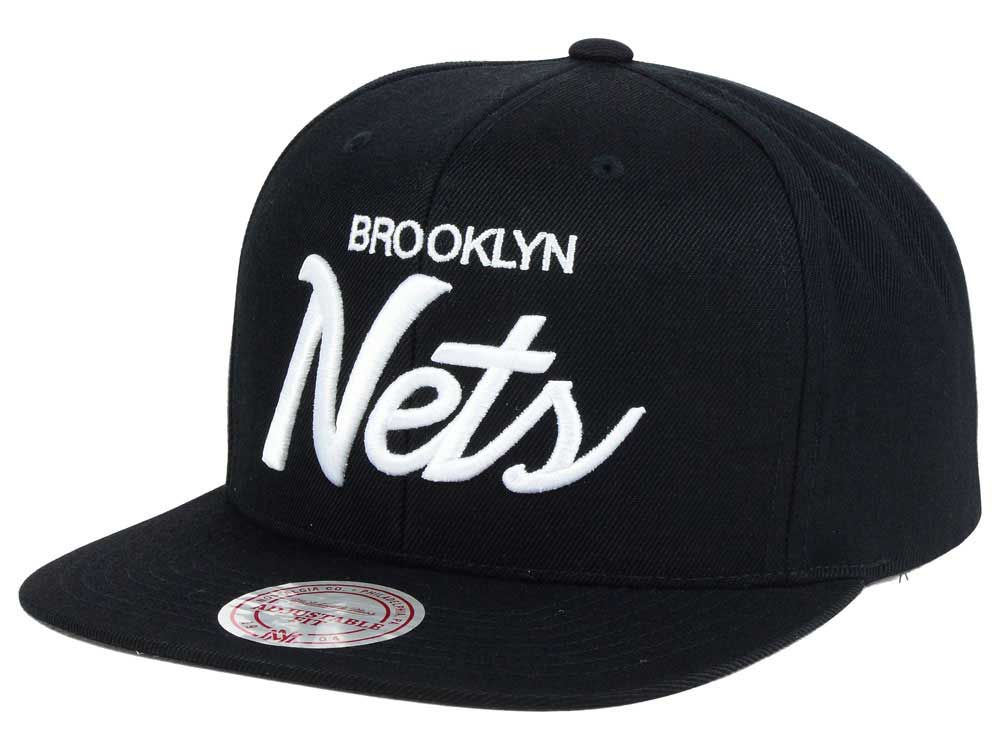 brand new 3de23 ebaee ... where can i buy brooklyn nets mitchell ness nba white script snapback  cap 3846e 1e6b0 ...