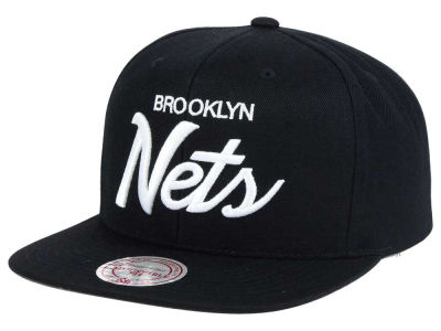 Brooklyn Nets Mitchell and Ness NBA White Script Snapback Cap
