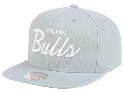 Chicago Bulls Mitchell and Ness NBA White Script Snapback Cap