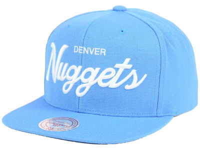 Denver Nuggets Mitchell and Ness NBA White Script Snapback Cap