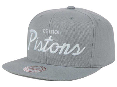 Detroit Pistons Mitchell and Ness NBA White Script Snapback Cap