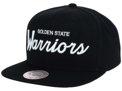 Golden State Warriors Mitchell and Ness NBA White Script Snapback Cap