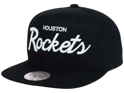 Houston Rockets Mitchell and Ness NBA White Script Snapback Cap