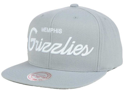 Memphis Grizzlies Mitchell and Ness NBA White Script Snapback Cap