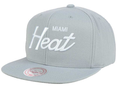 Miami Heat Mitchell and Ness NBA White Script Snapback Cap