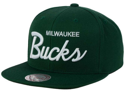 Milwaukee Bucks Mitchell and Ness NBA White Script Snapback Cap
