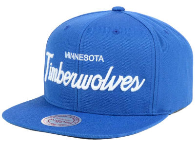 Minnesota Timberwolves Mitchell and Ness NBA White Script Snapback Cap
