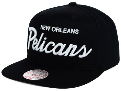 New Orleans Pelicans Mitchell and Ness NBA White Script Snapback Cap