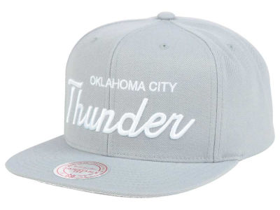 Oklahoma City Thunder Mitchell and Ness NBA White Script Snapback Cap