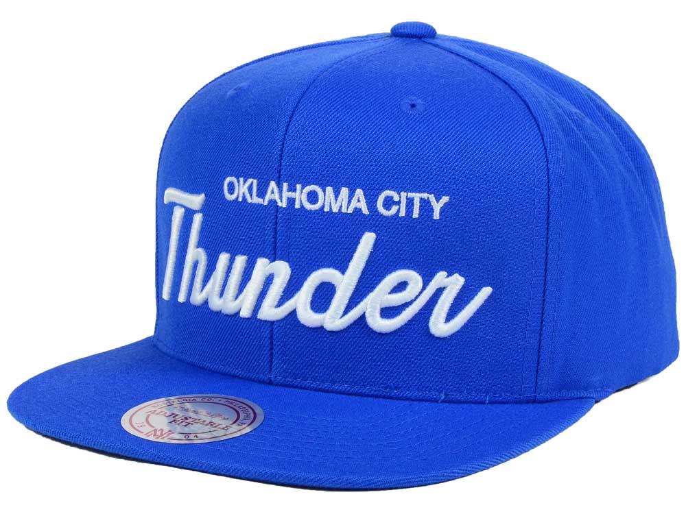 official photos 45a71 aac73 ... sale oklahoma city thunder mitchell ness nba white script snapback cap  lids 61cfa 14391