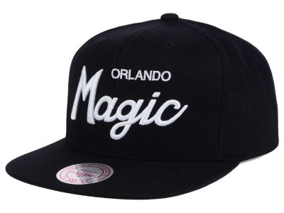 Orlando Magic Mitchell and Ness NBA White Script Snapback Cap