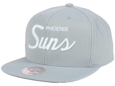 Phoenix Suns Mitchell and Ness NBA White Script Snapback Cap