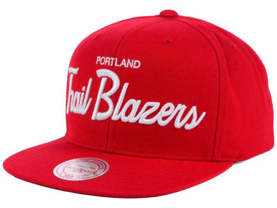 Portland Trail Blazers Mitchell and Ness NBA White Script Snapback Cap