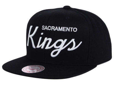 Sacramento Kings Mitchell and Ness NBA White Script Snapback Cap