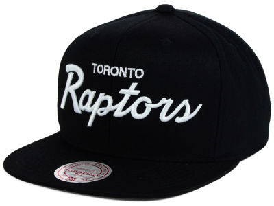 Toronto Raptors Mitchell and Ness NBA White Script Snapback Cap