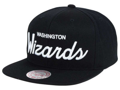 Washington Wizards Mitchell and Ness NBA White Script Snapback Cap