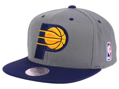 Indiana Pacers Mitchell and Ness NBA Under Over Snapback Cap