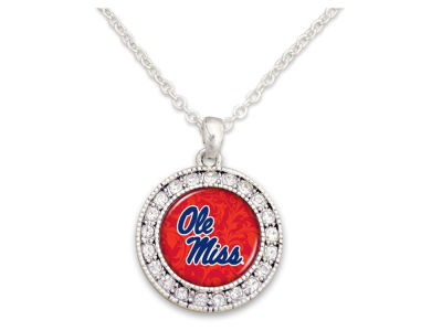 Ole Miss Rebels Rhinestone Disk Necklace