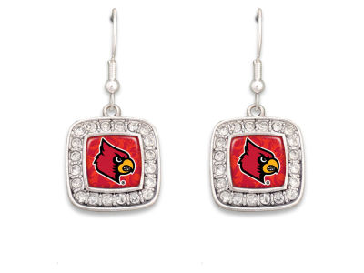 Louisville Cardinals Rhinestone Square Earring